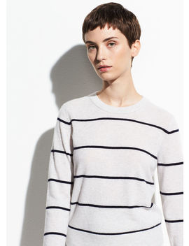 Striped Overlay Cashmere Crew by Vince