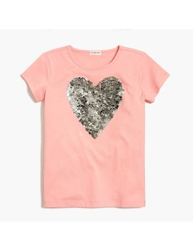 Girls' Sequin Heart Graphic T Shirt by J.Crew