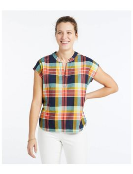 Signature Madras Shirt, Short Sleeve Split Neck Popover by L.L.Bean
