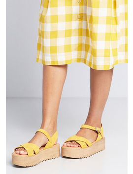 Cheerful Up Here Suede Platform Sandal by Modcloth