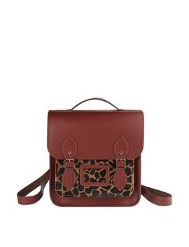 Small Portrait Backpack In Leather   Brandy & Giraffe Haircalf by Cambridge Satchel