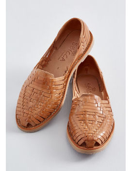 Woven Wanderer Leather Flat by Modcloth