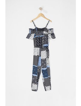 Girls Printed Off The Shoulder Cut Out Short Sleeve Jumpsuit by Urban Planet