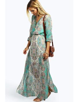 Cage Detail Paisley Woven Maxi Dress by Boohoo