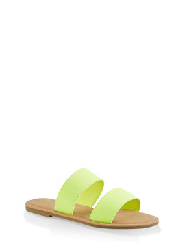 Elastic Two Band Slide Sandals by Rainbow
