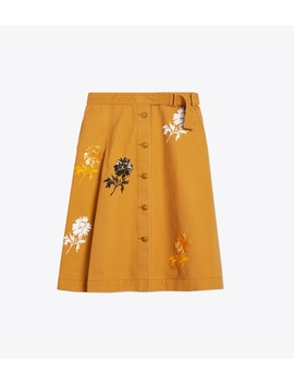 Embroidered Denim Skirt by Tory Burch
