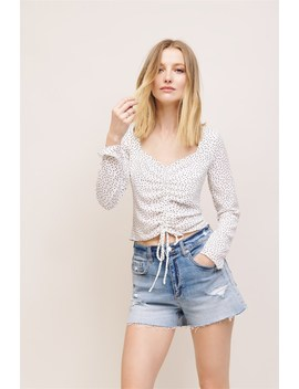 Ruched Long Sleeve Top by Dynamite