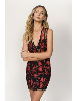 Lillian Black &Amp; Red Embroidered Bodycon Dress by Tobi