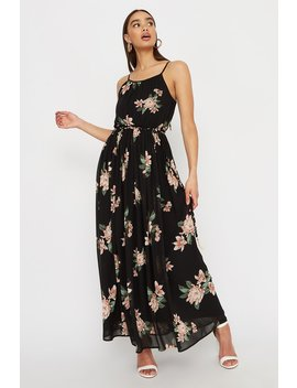 Floral Chiffon Belted Maxi Dress by Urban Planet
