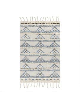 Blue And Ivory Triangle Wool Shag Kilim Area Rug by World Market
