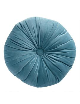 Round Storm Blue Velvet Throw Pillow by World Market