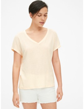 soft-slub-stripe-v-neck-t-shirt by gap