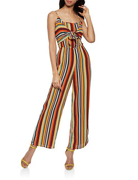 Crepe Striped Tie Front Jumpsuit by Rainbow