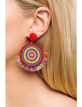 Naresh Circle Bead Fringe Drop Earring by A'gaci