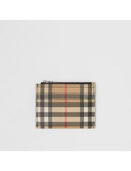 Vintage Check And Leather Zip Card Case by Burberry