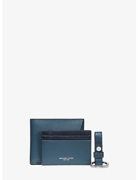 Two Tone Leather Billfold Wallet And Card Case Set by Michael Kors Mens