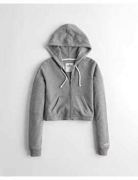 Crop Full Zip Waffle Hoodie by Hollister
