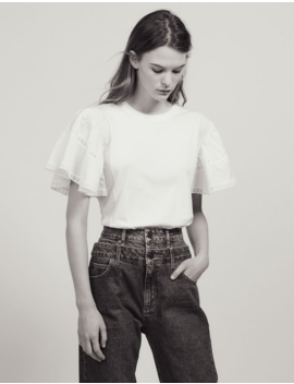 T Shirt With Ruffled Sleeves by Sandro Paris