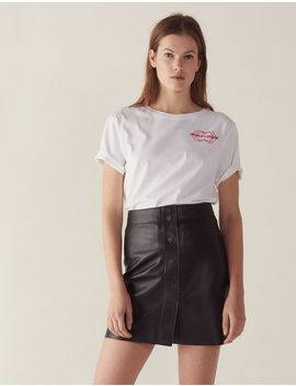 A Line Leather Skirt by Sandro Paris