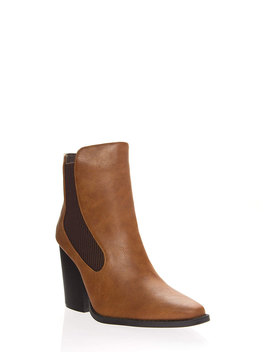 Slay Faux Leather Block Heel Booties by Go Jane