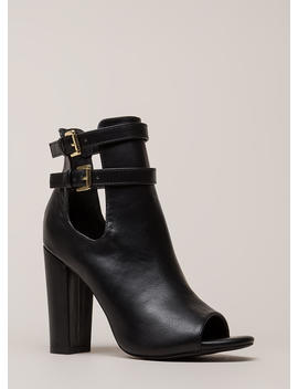 Two Perfect Cut Out Peep Toe Booties by Go Jane