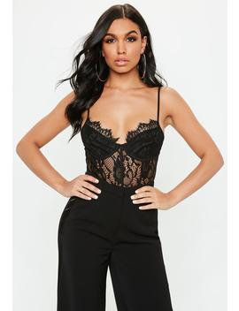 Petite Black Strappy Non Wired Lace Panel Bodysuit by Missguided