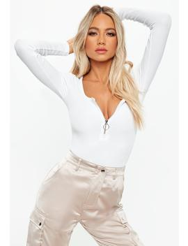 Tall White Zip Front Ribbed Bodysuit by Missguided