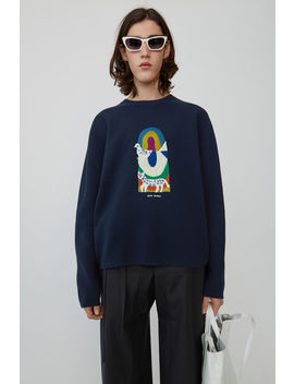 Pullover In Lockerer Passform Marineblau by Acne Studios