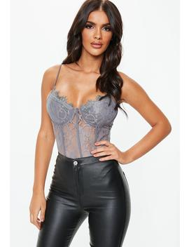 Tall Grey Strappy Lace Cupped Bodysuit by Missguided