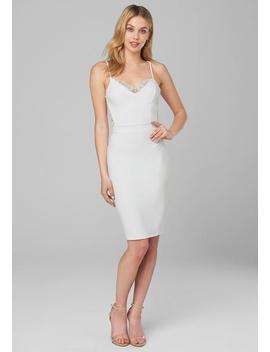 Lace Back Knit Midi Dress by Bebe