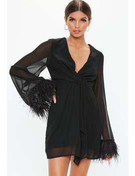 Black Twist Front Sheer Feather Trim Shift Dress by Missguided
