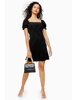 Black Jacquard Mini Square Neck Tea Dress by Topshop