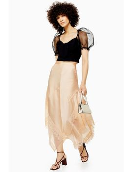 Champagne Lace Pintuck Midi Skirt by Topshop