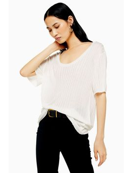 Oversized Rib Knitted T Shirt by Topshop