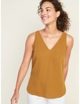 Textured Weave V Neck Sleeveless Top For Women by Old Navy