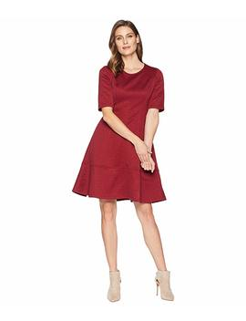 Jacquard Elbow Sleeve Fit & Flare Dress by London Times