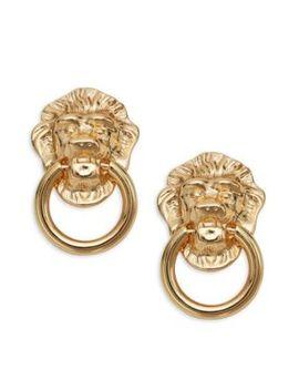 Lion Head Doorknocker Clip On Earrings by Kenneth Jay Lane