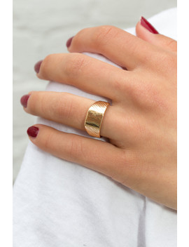 Gold Square Signet Ring by Brandy Melville