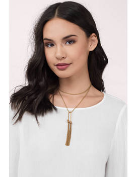 The Keiko Gold Lariat Necklace by Tobi