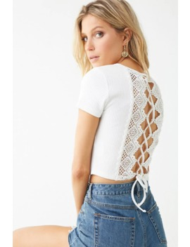 Ribbed Crochet Lace Up Back Crop Top by Forever 21