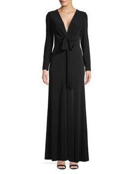 V Neck Long Sleeve Drape Gown by Calvin Klein