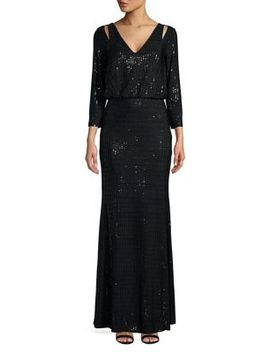 Sequined Cutout Blouson Gown by Calvin Klein