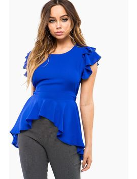 Ruffle Sleeve Hi Lo Top by A'gaci