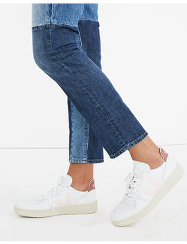 Veja™ Leather V 10 Lace Up Sneakers In White With Pink Accents by Madewell