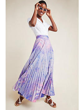 Marble Dyed Pleated Maxi Skirt by Siddhartha Bansal