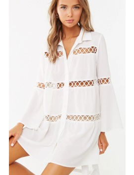 Crepe Geo Cutout Shirt Dress by Forever 21