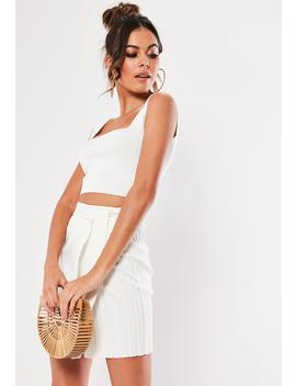 White Knitted Co Ord Square Neck Tank Top by Missguided