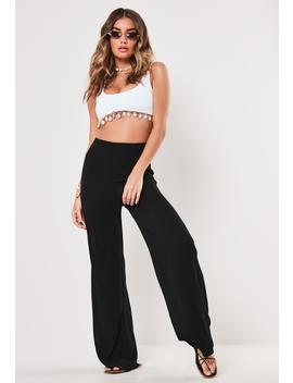 Black Cheesecloth Wide Leg Trousers by Missguided