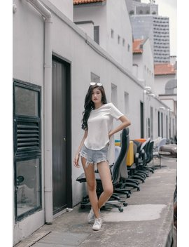 Placid Tee In White by Young Hungry Free