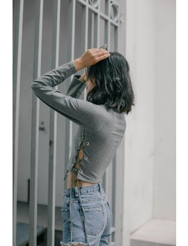 Tighten Up Crop Top In Grey by Young Hungry Free